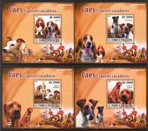 {043} Sao Tome & Principe 2008 Dogs 4 S/S Deluxe MNH**