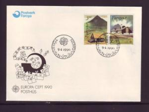 Faroe Islands Sc205-6 1990 Europa Post Offices stamps FDC