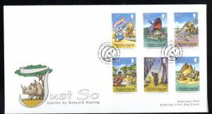 Alderney Sc 307-12 2007 Kipling Just So Stories stamp set on FDC