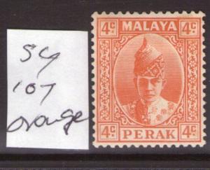 MALAYSIA Perak  4c SG107 orange  lightly hinged condition.Cat.£42