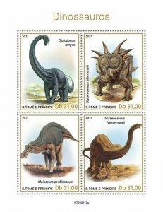 Sao Tome & Principe 2021 MNH Dinosaurs Stamps Prehistoric Animals 4v M/S