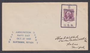 US Sc 720 on 1932 Navy Day cover, Hawthorne, Nevada purple Anchor & USN cancel