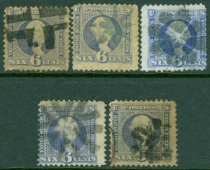 EDW1949SELL : USA 1869 Sc #115. 5 stamps. Used. All w/ Fancy cancels. Cat $1,125