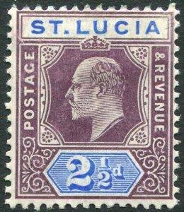 ST LUCIA-1904-10 2½d Dull Purple & Ultramarine Chalk Surfaced Paper Sg 68a MM