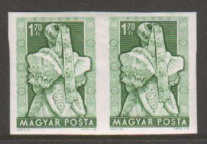 Hungary Sc 1067 var MNH. 1953 1.70ft brig green Boldog Costume, imperf pair, VF+