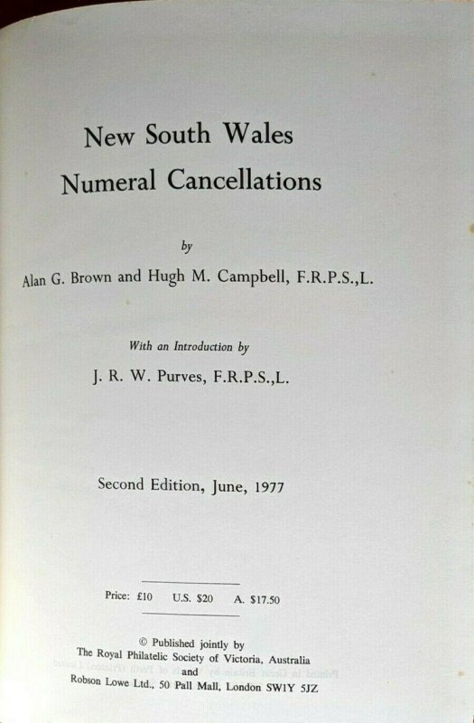 NEW SOUTH WALES NUMERAL CANCELLATIONS 1977 Robson Lowe Purves Australia Postmark