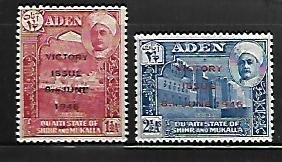 ADEN, 12-13, MINT HINGED, WW2 OVPTD