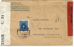 Bolivia 1941 Oruro cancel on registered cover to Canada, censored, customs tape