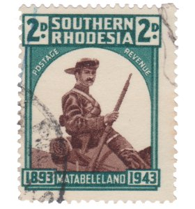 STAMP FROM SOUTHERN RHODESIA 1943. SCOTT # 64. USED