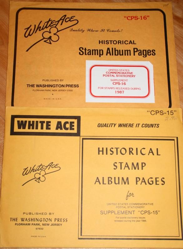 1986-7 New White Ace US Commemorative Postal Stationery Supplements CPS-15 & 16