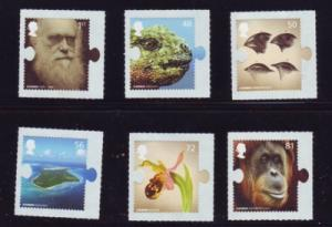 Great Britain Sc 2633-38 2009 Darwin stamp set self adhesive mint NH