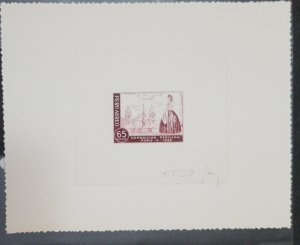 O) 1958 PEU, ATELIER DIE PROOF, CATHEDRAL OF LIMA AND LADY, PERUVIAN