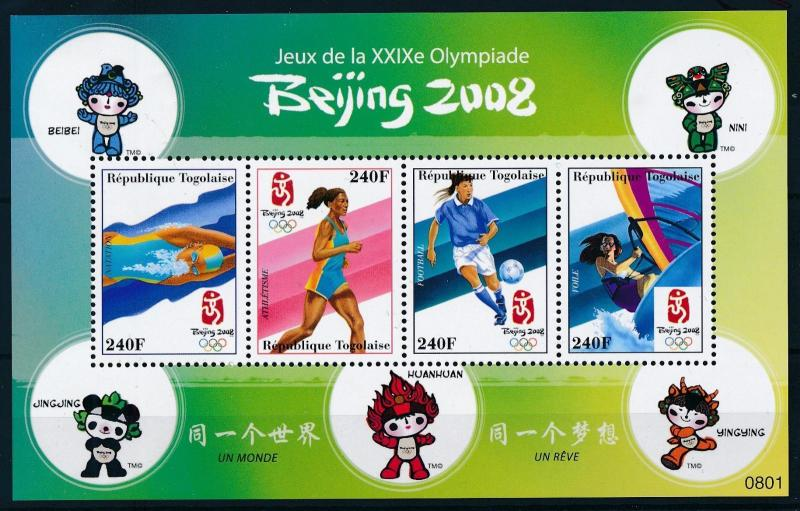 [75388] Togo 2008 Olympic Games Beijing Swimming Football Surfing Sheet MNH