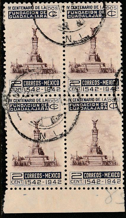 MEXICO 771, 2c Anniv of Guadalajara. Block of four Used. VF. (23)
