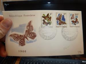 Rwanda 1966 Butterfly FDC Cacheted (58bee)