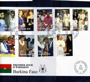 Burkina Faso 1998 Pope John Paul II Princess Diana Set (9) Imperforated in FDC