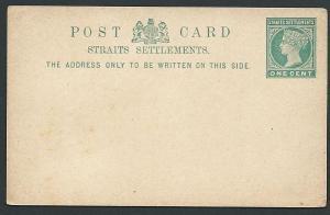 MALAYA STRAITS SETTLEMENTS QV 1c postcard fine unused......................46829