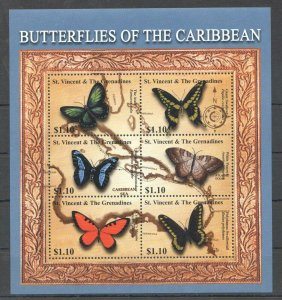 PK303 ST.VINCENT FAUNA BUTTERFLIES INSECTS OF THE CARIBBEAN 1KB MNH STAMPS