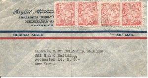 Havana Cuba To New York Air Mail Cover Republica De Cuba Stamps U176