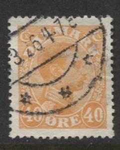 Denmark - Scott 119 - King Christian X Issue -1925 - Used - Single 40o Stamp