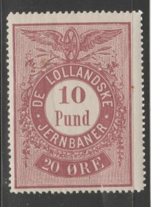 Denmark Train revenue fiscal stamp- 2-14/20 mnh gum- one of the Danish Islands