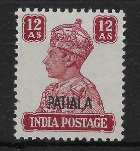 INDIA-PATIALA SG115 1945 12a LAKE MNH