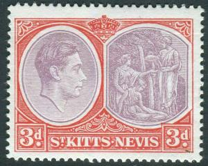 ST KITTS-1938-50 3d Deep Reddish Purple Chalky Paper Sg 73g UNMOUNTED MINT