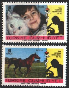 Turkey. 1967. 2078-79. Pets, cats, horses. MNH.