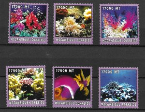 Mozambique MNH 1667A-F Corals Marine Life 2002 SCV 9.50