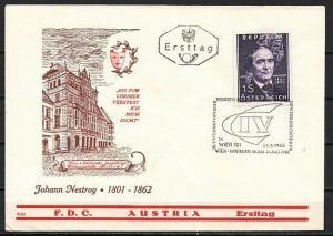 Austria, Scott cat. 682. J. Nestroy, Playwright issue. First day cover. ^