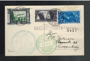 1933 Italy Graf Zeppelin Postcard Cover to Luxemburg LZ 127 # C42