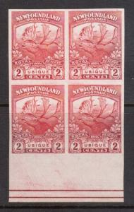 Newfoundland #116a XF Mint Imperf Block With Plate Line Marking