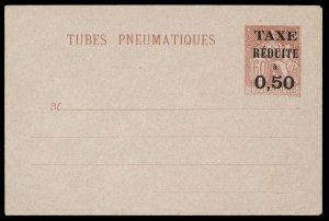 fr032 France Tubes Pneumatiques envelope 60c red unused, 50c Taxe Reduit overprt