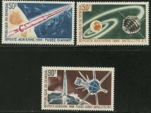 SENEGAL Sc#C43-C45 1966 French Space Achievements Complete Mint OG NH