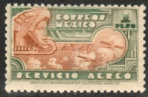 MEXICO C176, $1P 1934 Definitive Wmk Gobierno...279. MINT, NH.. VF.