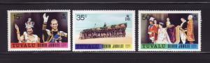 Tuvalu 43-45 Set MNH Queen Elizabeth II Silver Jubilee (A)