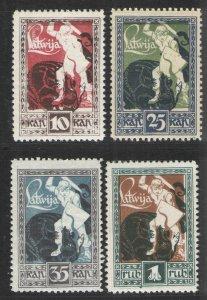 Latvia 1919 Sc# 64-67 MNH/MH VG - Warrior slaying Dragon
