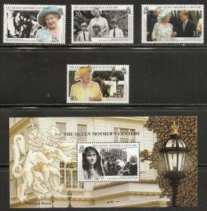 South Geogria 231-5 1999 Queen Mother set and s.s. MNH