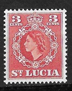 St. Lucia # 159  QE II 3c value      (1) Mint NH