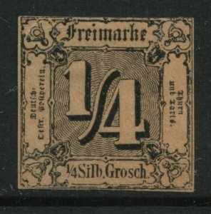 Thurn & Taxis 1854 1/4 sgr black on red brown unused no gum