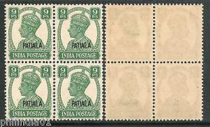 India Patiala State 9ps KG VI Postage Stamp SG 105 / Sc 104 BLK/4 MNH