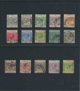 CYPRUS 1924-28 SET TO 90pi G/FU (15) SG 103/117 CAT £500