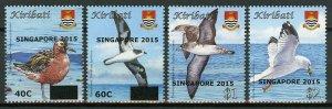 Kiribati Birds Stamps 2015 MNH Definitives Singapore 2015 OVPT Seabirds 4v Set