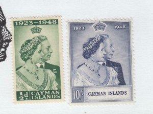 CAYMAN ISLANDS # 116-117 VF-MNH 1948 KING GEORGE VI SILVER WEDDING  CV $23