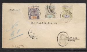 SEYCHELLES (P1201BB) 1896 REG QV 3C+12C+15C TO GERMANY, FR LIGNE B/S