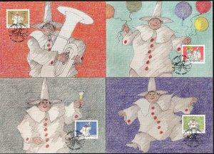 Liechtenstein 1998 Greeting stamps 4 Maxi Cards FDC