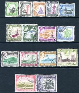 RHODESIA & NYASALAND-1959-62 Set to £1 Sg 18-31 FINE USED V24221