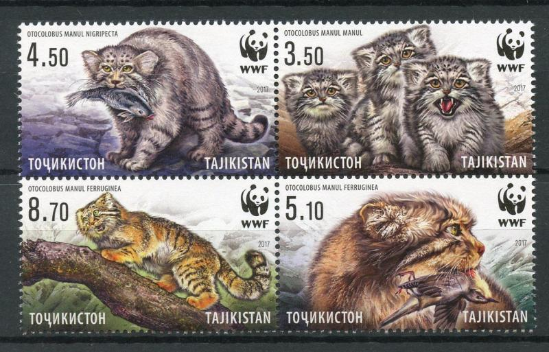 Tajikistan 2017 MNH WWF Manul Pallas's Cat 4v Block Wild Cats Animals Stamps