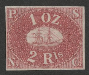 PERU : 1857 Pacific Steam Navigation Co 2R red, unissued. Only 800 printed.