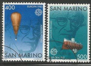 SAN MARINO  1049-1050  USED,  EUROPA, PICCARD, SWISS SCIENTIST